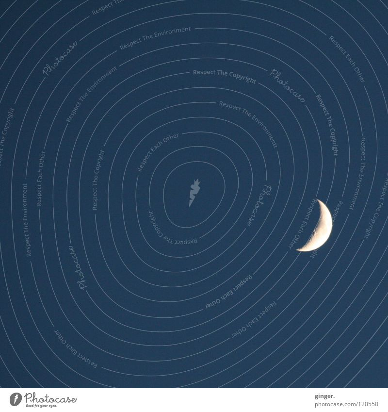 The fascinating Earth Circle Moon Blue White Celestial bodies and the universe Night sky Crescent moon Copy Space top Copy Space bottom Copy Space left Deserted