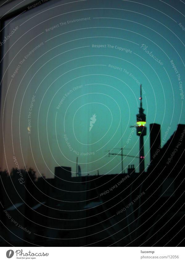 Television Tower Dortmund Nightshot Reflection Building Night shot Set Horizon Architecture Evening Dusk Lighting Clarity Germany Television tower
