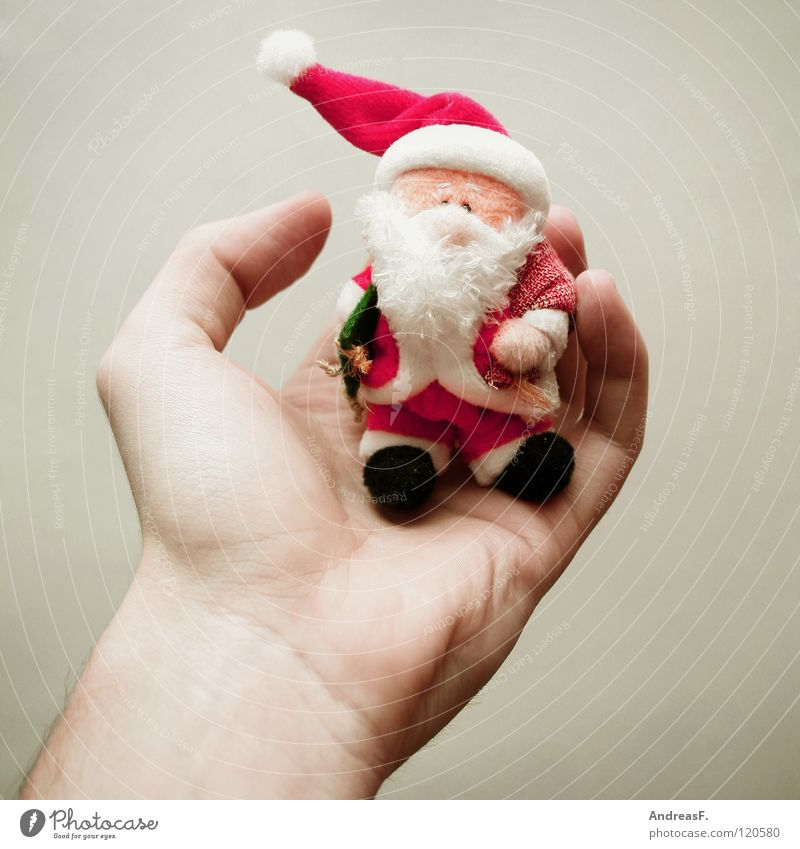Hand Christmas & Advent Winter Sit Decoration To hold on Kitsch Carnival Santa Claus Facial hair Carnival costume Embellish December Christmas decoration Palm of the hand