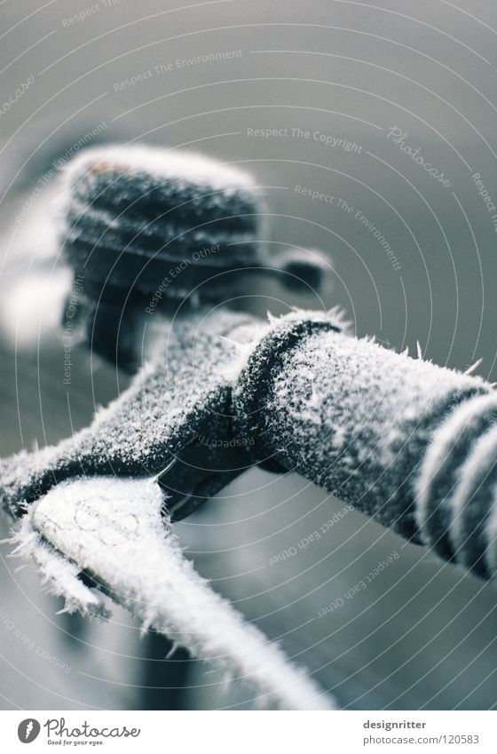 Beautiful Winter Cold Snow Ice Bicycle Sleep Frost Driving Touch To hold on Pelt Frozen Catch Freeze Coat