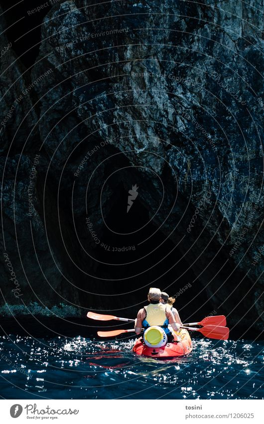 into the unknown... Human being Masculine Feminine Woman Adults Man 2 Sports Kayak Canoe paddle Summer vacation Aquatics Water Stone Rock Action Adventure