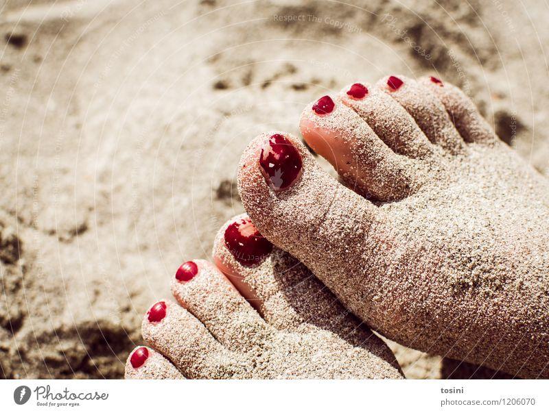 elapsed Feet Red Second-hand Nail polish Toenail Toes Sand Beach Break improper Converse Blemish Skin Summer Disfigurement Beautiful used Playing Colour photo