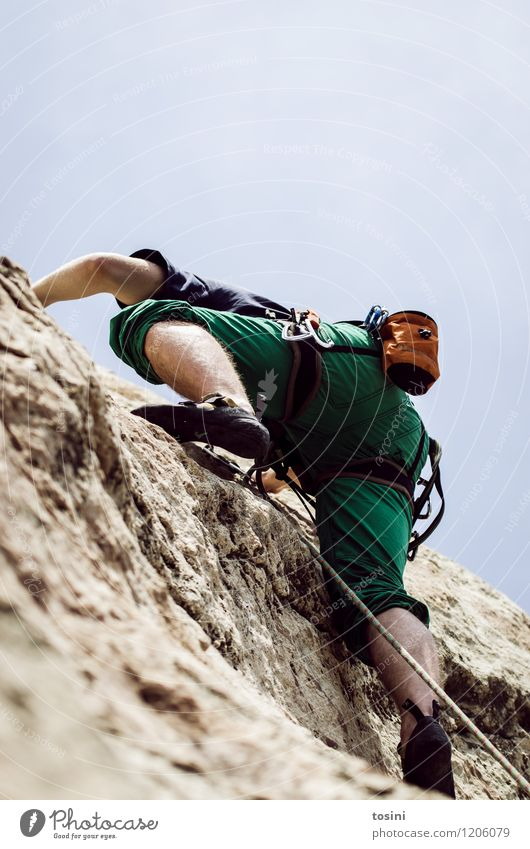 Master of Rock III 1 Human being Athletic Climbing Strong Power Sportsperson Climbing rope Climbing shoes Climbing equipment Sky Man Upward Collateralization