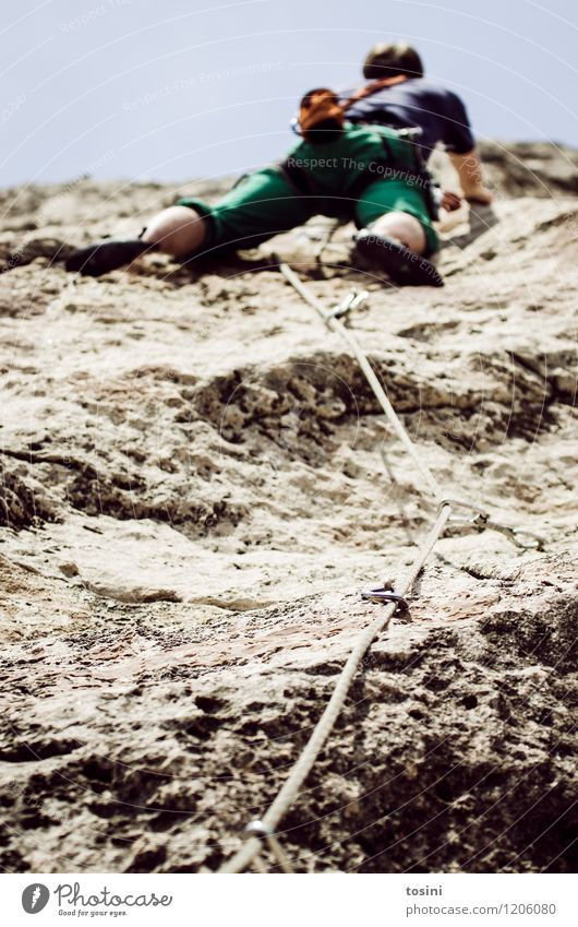 Human being Sky Nature Man Mountain Sports Legs Rock Power Perspective Dangerous Force Climbing Trust Athletic Strong