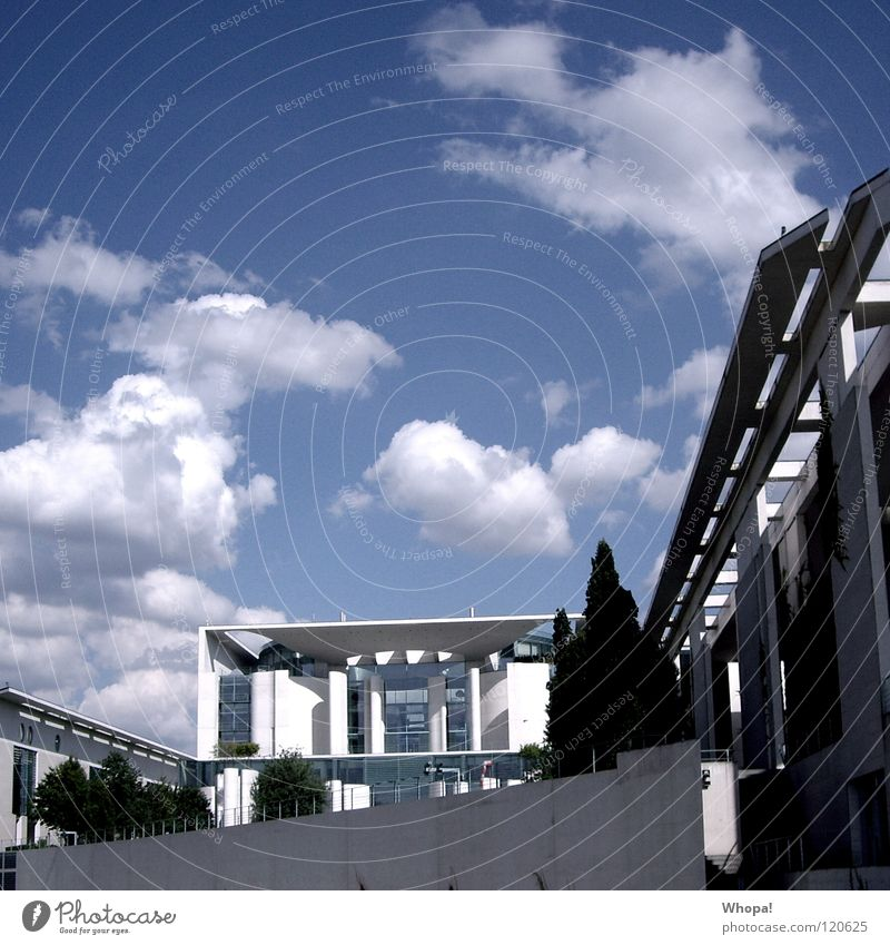Angies Castle Federal Chancellery Politics and state Clouds Architecture Berlin Germany angela merkel Sky Blue