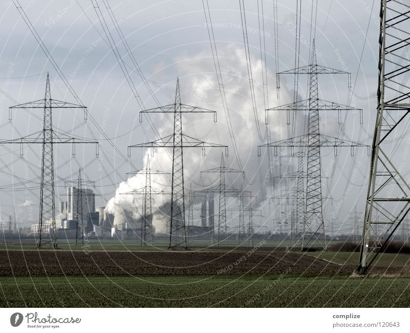 Sky Nature Clouds Far-off places Field Energy industry Dangerous Electricity Cable Industry Threat Technology Factory Smoke Electricity pylon Concern