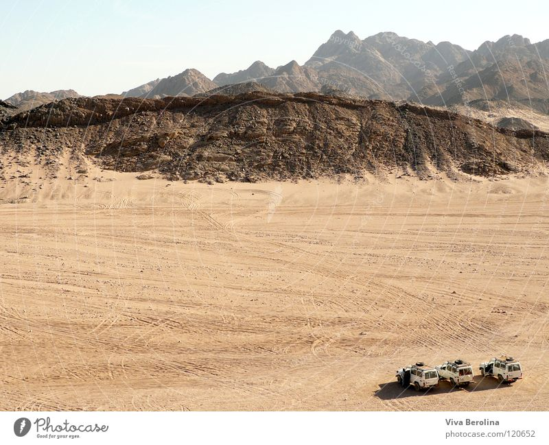 Sky Vacation & Travel Far-off places Mountain Freedom Car Sand Small Large Horizon Desert Tracks Infinity Safari Egypt Africa