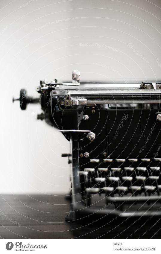 analog left Lifestyle Education Collector's item Typewriter Old Historic Retro Black Transience Change Analog Keyboard Lever Black & white photo Interior shot