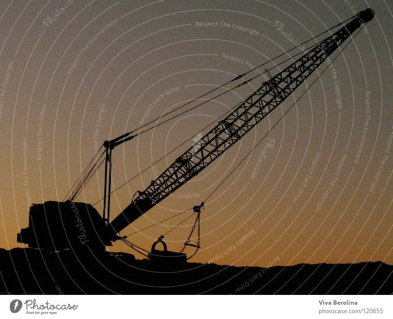 closing time Crane Construction site Sunset Sunrise Black Silhouette Shadow play Twilight Craft (trade) Technology Rope Sky Contrast