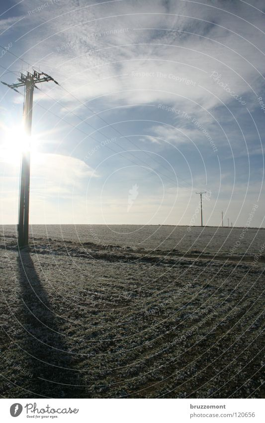 Sky Sun Winter Clouds Cold Field Horizon Energy industry Electricity Americas Solar Power Footpath Electricity pylon Furrow Rural High voltage power line