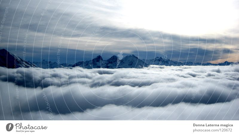 Nature Blue White Beautiful Vacation & Travel Joy Clouds Far-off places Life Mountain Gray Fog Flying Level Infinity Switzerland