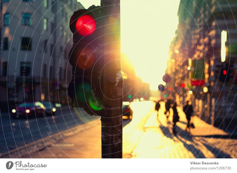 Traffic lights at night outdoors at sunset Vacation & Travel Summer Sky Town Transport Street Highway Car Driving Yellow Colour Sunset Shanghai blur Dusk