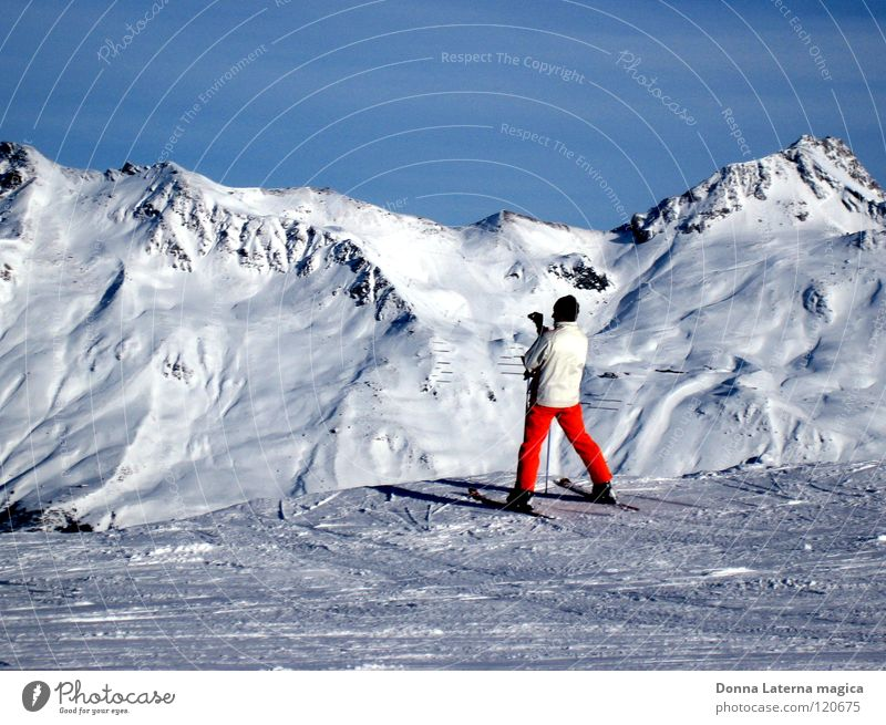 Man Beautiful Sky White Blue Winter Vacation & Travel Cold Snow Mountain Orange Weather Skiing Tourism Break Vantage point