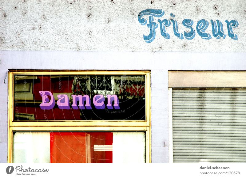 Haircut 5 Mark ! Facade Lady Gentleman Window Typography Closed Violet White Background picture Wall (building) Abstract Derelict Detail Advertising Hairdresser