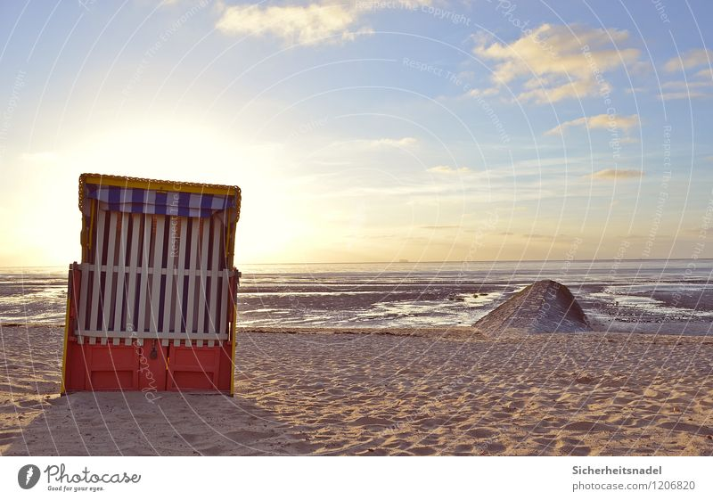 Beach chair in Cuxhaven Vacation & Travel Tourism Summer Summer vacation Sun Ocean Nature Sand Water Sky Clouds Horizon Sunrise Sunset Sunlight Weather