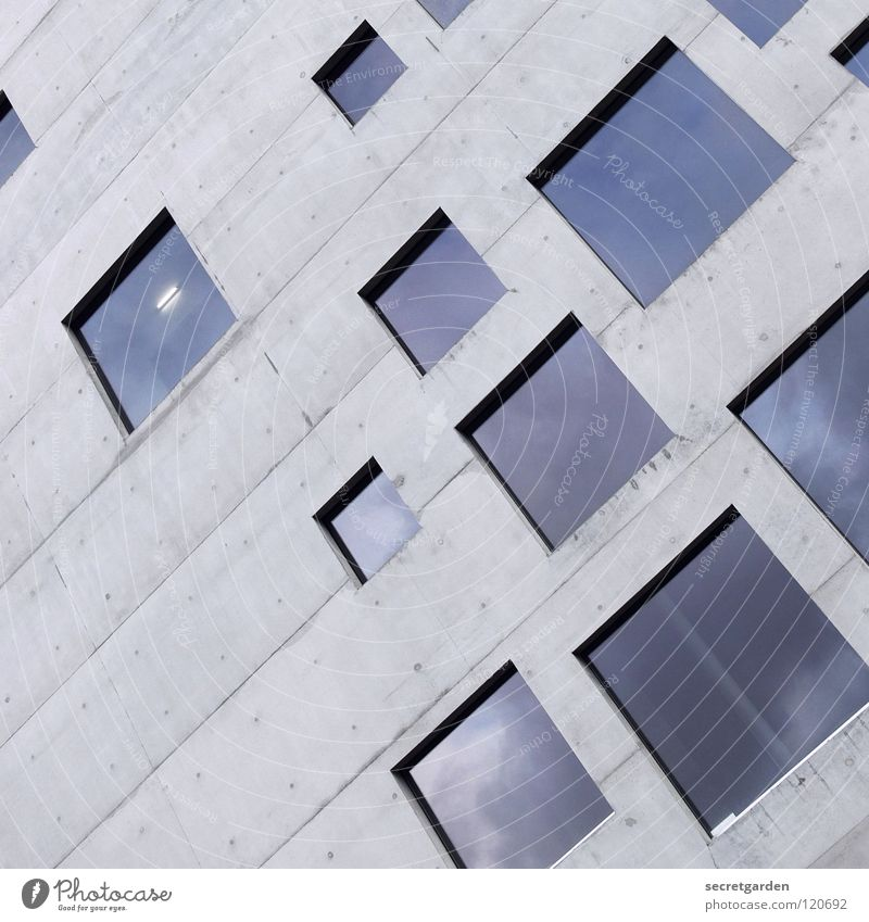 square, practical, good. Design House (Residential Structure) Building Concrete Square Window Vantage point Graphic Room Style Sense of taste Cold Reflection