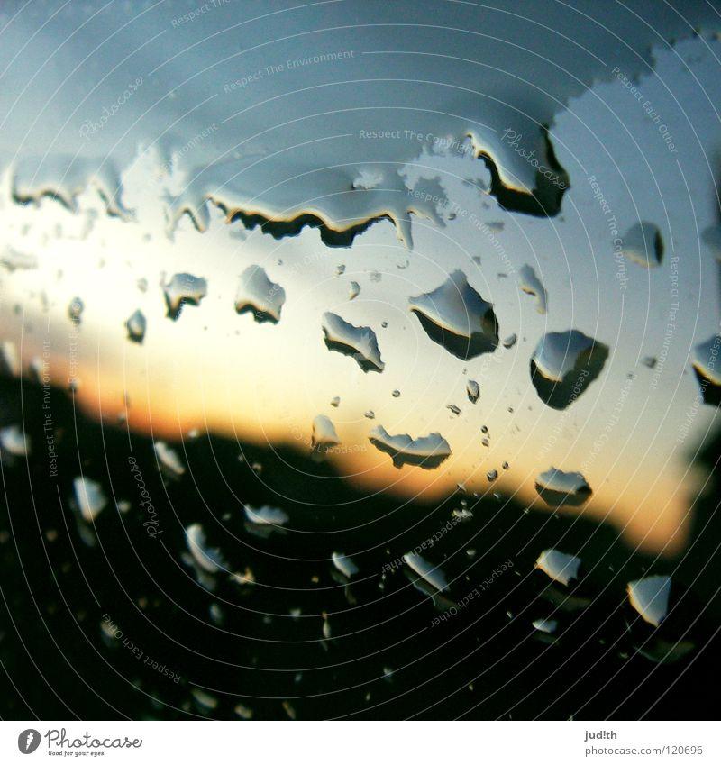 Sky Blue Beautiful Water Red Clouds Black Window Sadness Gray Metal Rain Car Glass Drops of water Wet