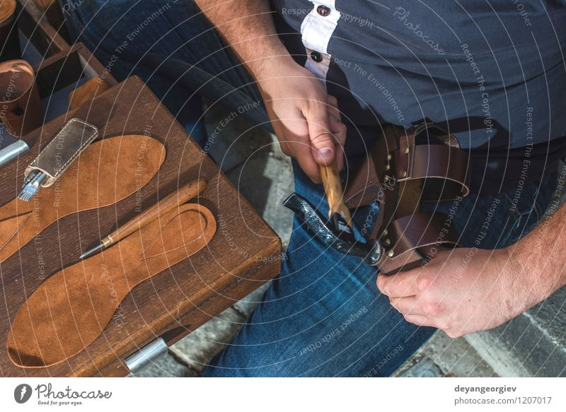 Making shoes manual Handicraft Work and employment Craft (trade) Tool Human being Man Adults Leather Footwear Old Make Tradition Shoemaker workshop skill