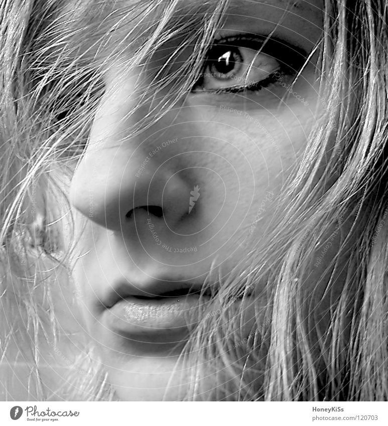 Woman Human being White Beautiful Joy Black Eyes Feminine Emotions Sadness Think Blonde Wind Mouth Fear Wet