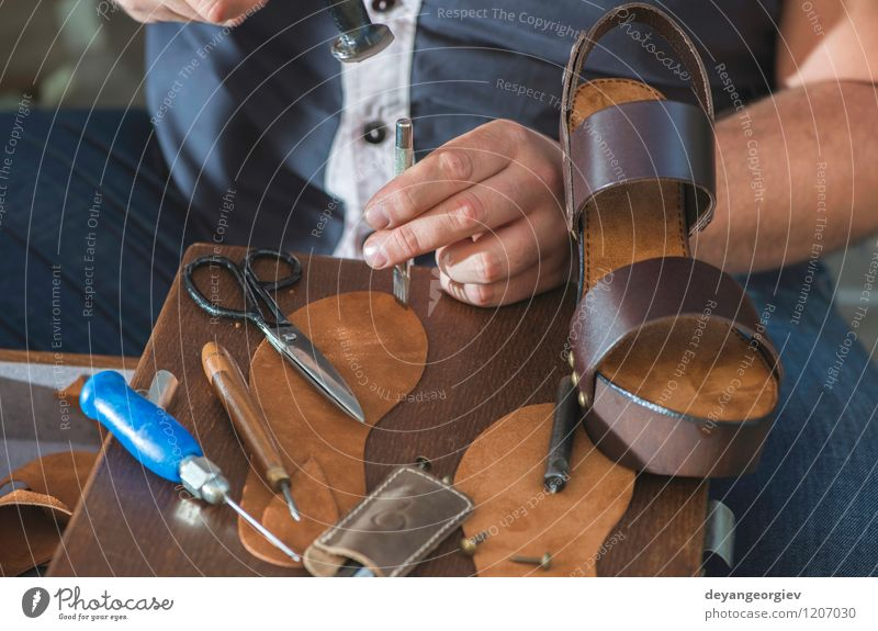 Making shoes manual Handicraft Work and employment Craft (trade) Business Tool Hammer Woman Adults Man Feet Culture Leather Footwear Old Make Tradition