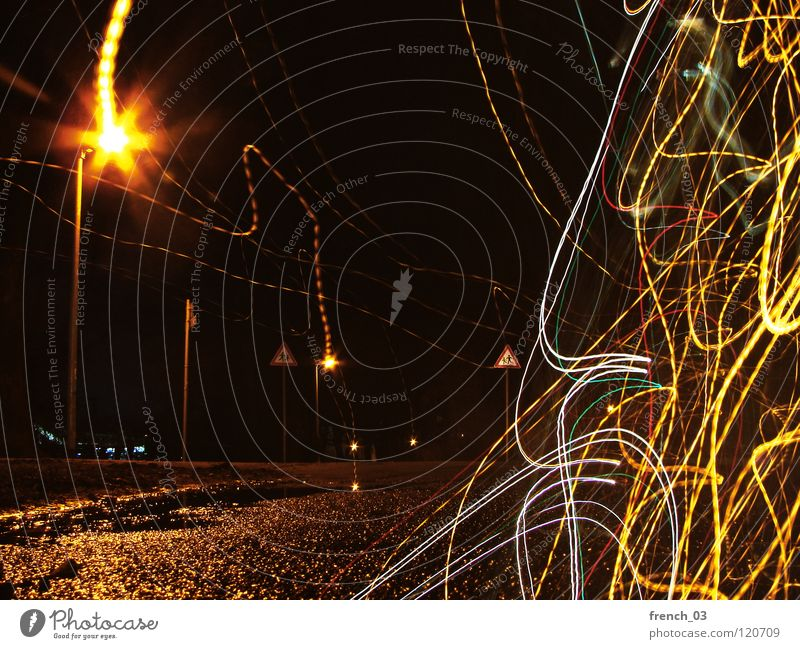 distortion at night Water White Green Tree Red Loneliness Black Yellow Street Dark Lanes & trails Movement Sadness Car Lamp Line