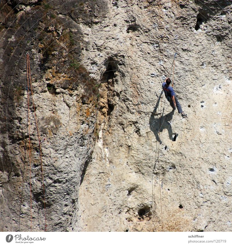 hang out Mountaineer Climbing rope Abseil Relaxation Break Shadow Knock-kneed Wall of rock Safety Franconian Switzerland Leisure and hobbies Mountaineering