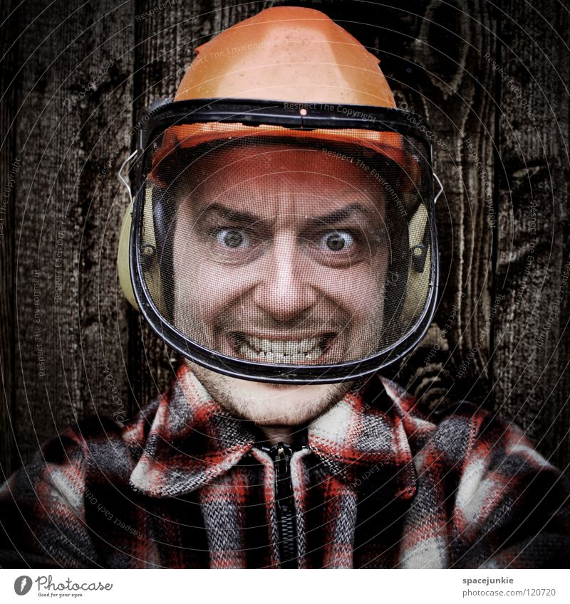 Human being Man Joy Face Wall (building) Wood Fear Profession Anger Scream Evil Freak Accident Helmet Aggression Panic