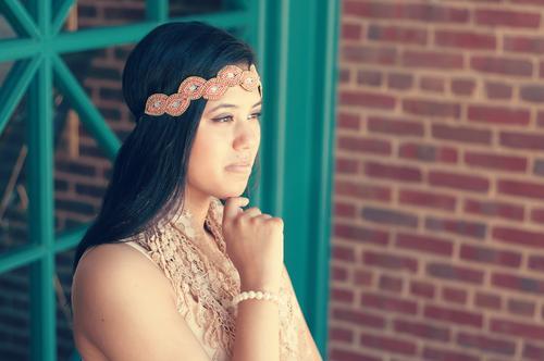 Beautiful teen girl wearing headband Human being Young woman Youth (Young adults) 13 - 18 years Child 18 - 30 years Adults Fashion Accessory Headband