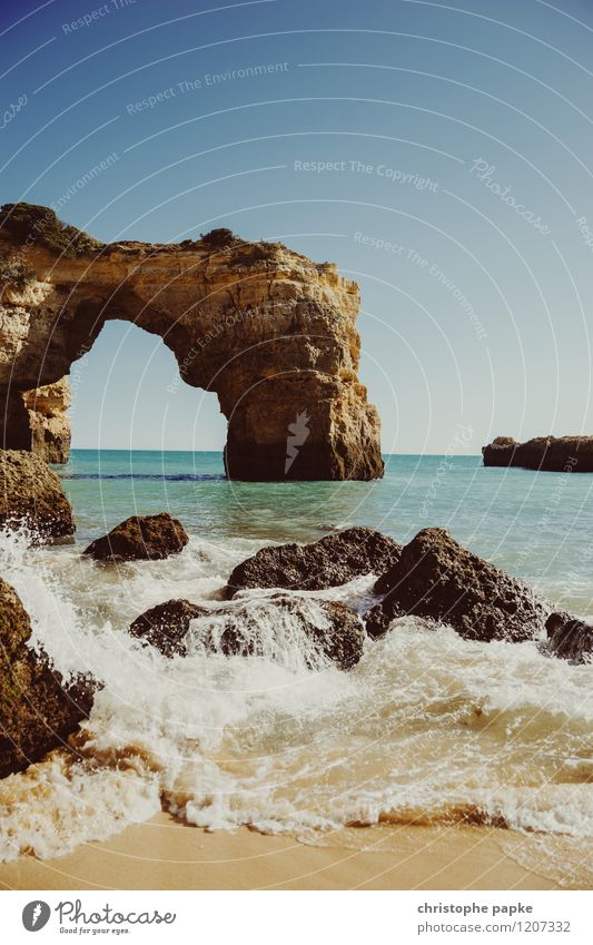 o arco Vacation & Travel Summer Summer vacation Sun Beach Beautiful weather Rock Waves Coast Bay Ocean Algarve Portugal Colour photo Exterior shot Deserted