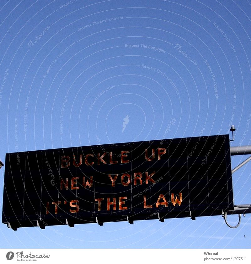 Law is law! New York City Signage Neon sign Street sign hump up it's the please fasten your seat belts Do not forget to fasten your seat belt Signs and labeling
