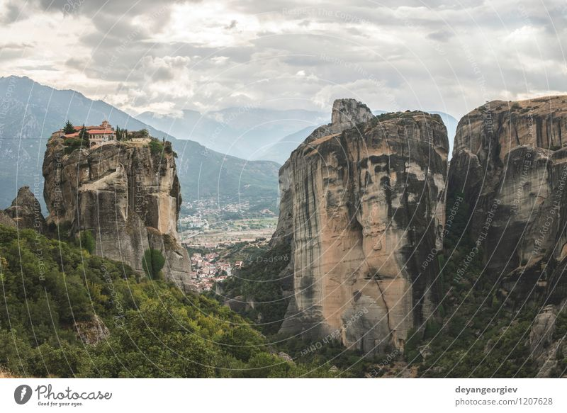 Meteora in Greece Nature Vacation & Travel Old Beautiful Summer Landscape Forest Mountain Architecture Religion and faith Rock Tourism Vantage point Europe