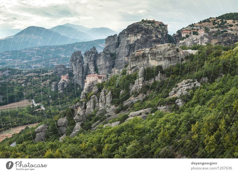 Meteora in Greece Nature Vacation & Travel Old Beautiful Summer Landscape Forest Mountain Architecture Religion and faith Rock Tourism Vantage point Church