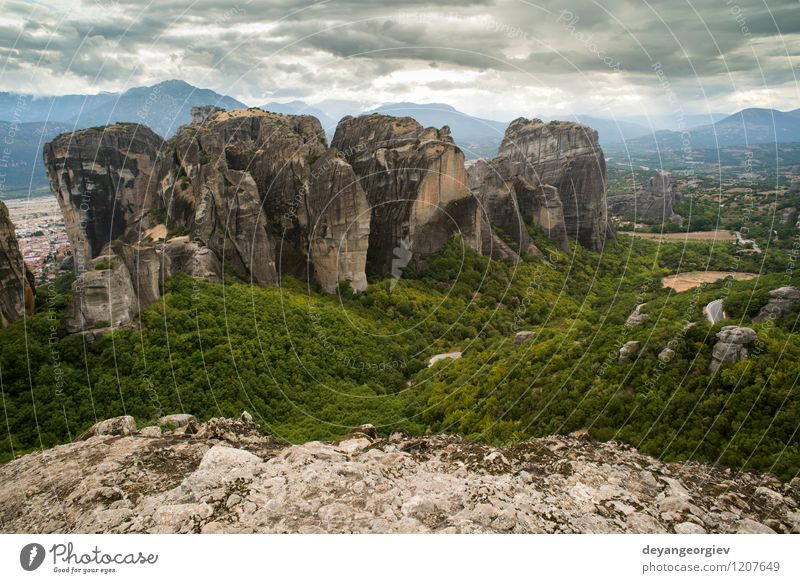 Meteora in Greece Nature Vacation & Travel Old Beautiful Summer Landscape Forest Mountain Architecture Religion and faith Rock Tourism Vantage point Church Europe Belief