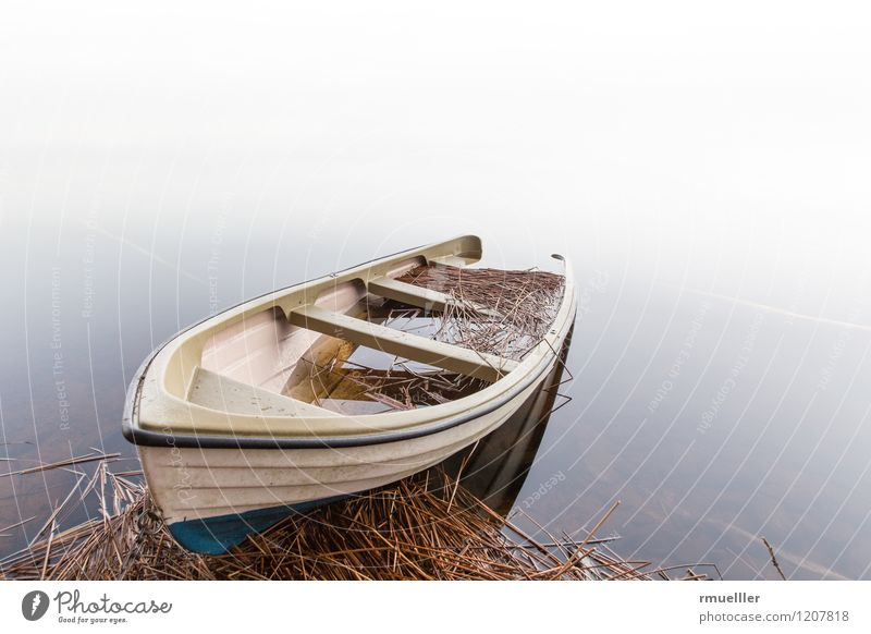 The boat Vacation & Travel Trip Adventure Far-off places Freedom Environment Nature Landscape Fog Lake Relaxation Watercraft Rowboat Straw Moody Sadness