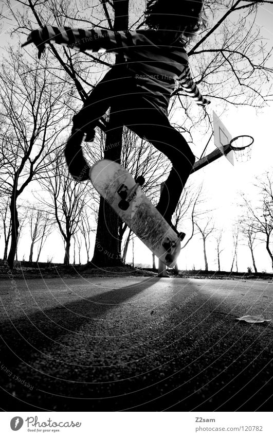 kickflip Dusk Action Skateboarding Contentment Kickflip Salto Jump Striped Tar Concrete Light Tree Wide angle Youth (Young adults) Sports Funsport Human being
