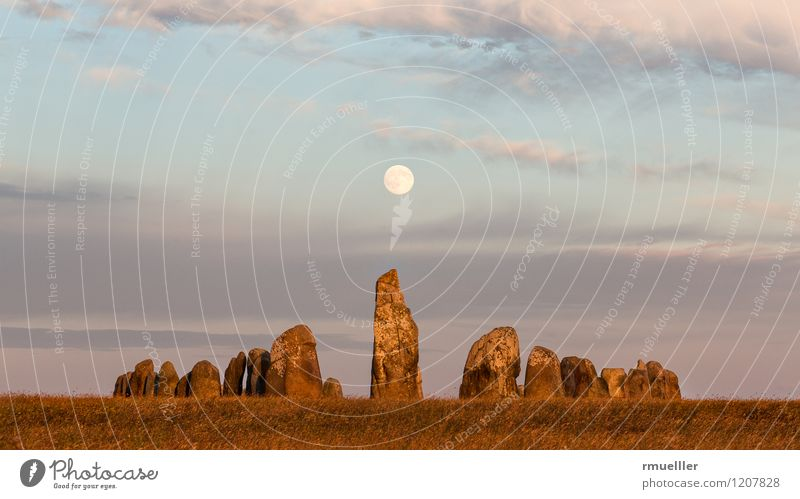 Ales Stenar Nature Landscape Moon Summer Vacation & Travel Old Loneliness Religion and faith Vikings ship Menhir Stone Sweden Colour photo Subdued colour
