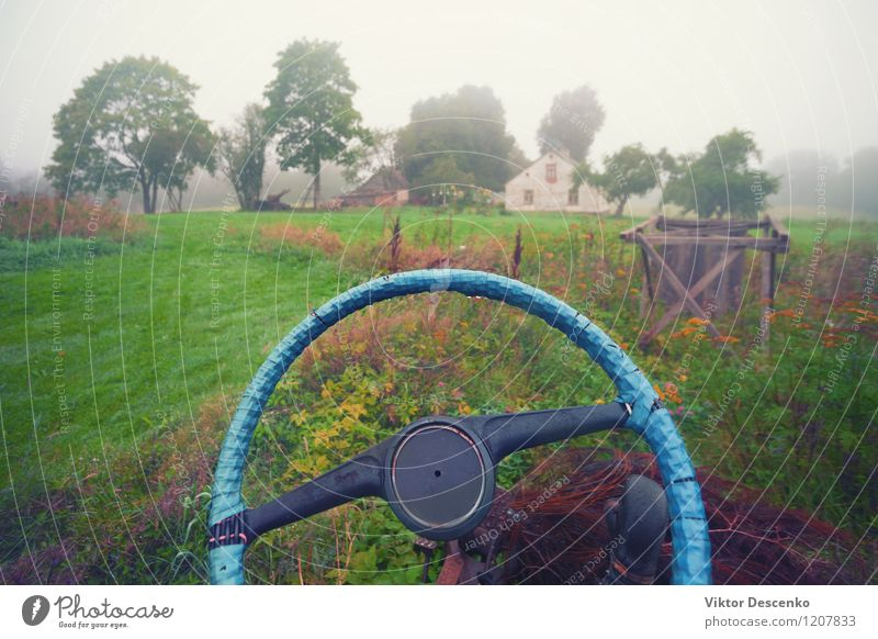 Blue electrical tape on the steering wheel of the car Life House (Residential Structure) Nature Landscape Clouds Autumn Fog Tree Grass Village Transport Car Old