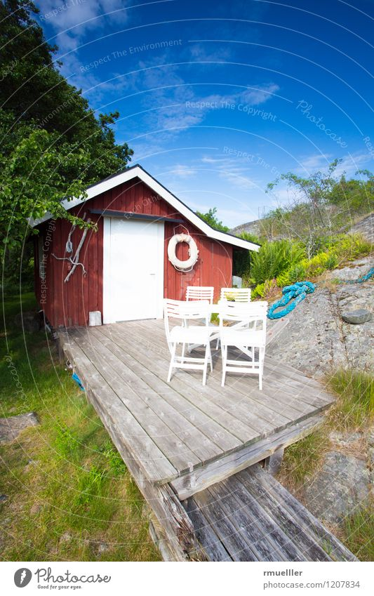 The red cottage Vacation & Travel Trip Far-off places Island Sky Plant Meadow Deserted House (Residential Structure) Terrace Wood Relaxation To enjoy