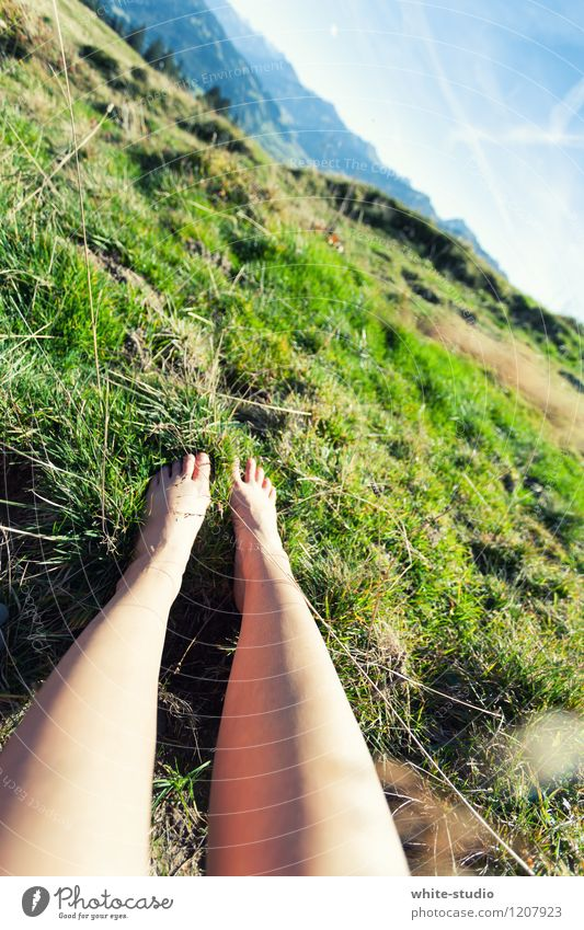 Relax Lifestyle Wellness Harmonious Well-being Contentment Senses Relaxation Calm Meditation Legs Feet Sky Beautiful weather Hill Rock Alps Mountain Peak Happy