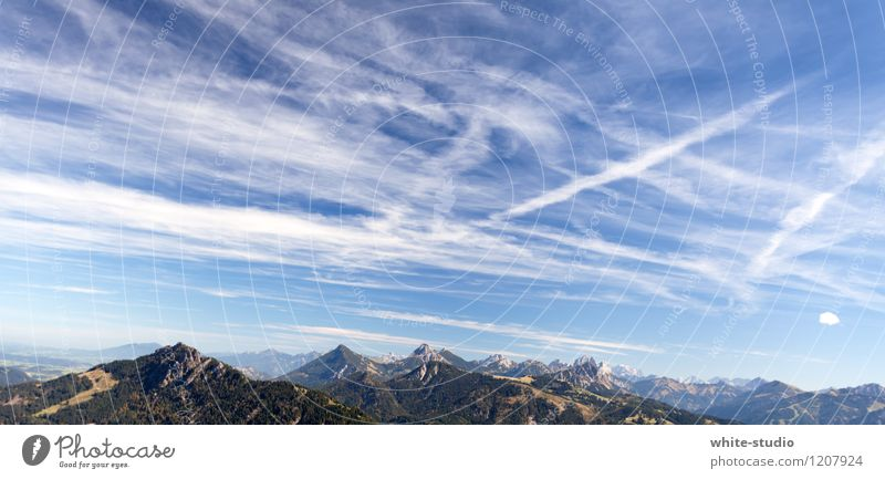 Sky Nature Far-off places Mountain Line Weather Vantage point Climate Beautiful weather Peak Tracks Paradise Moon Sky blue Nature reserve Clouds in the sky
