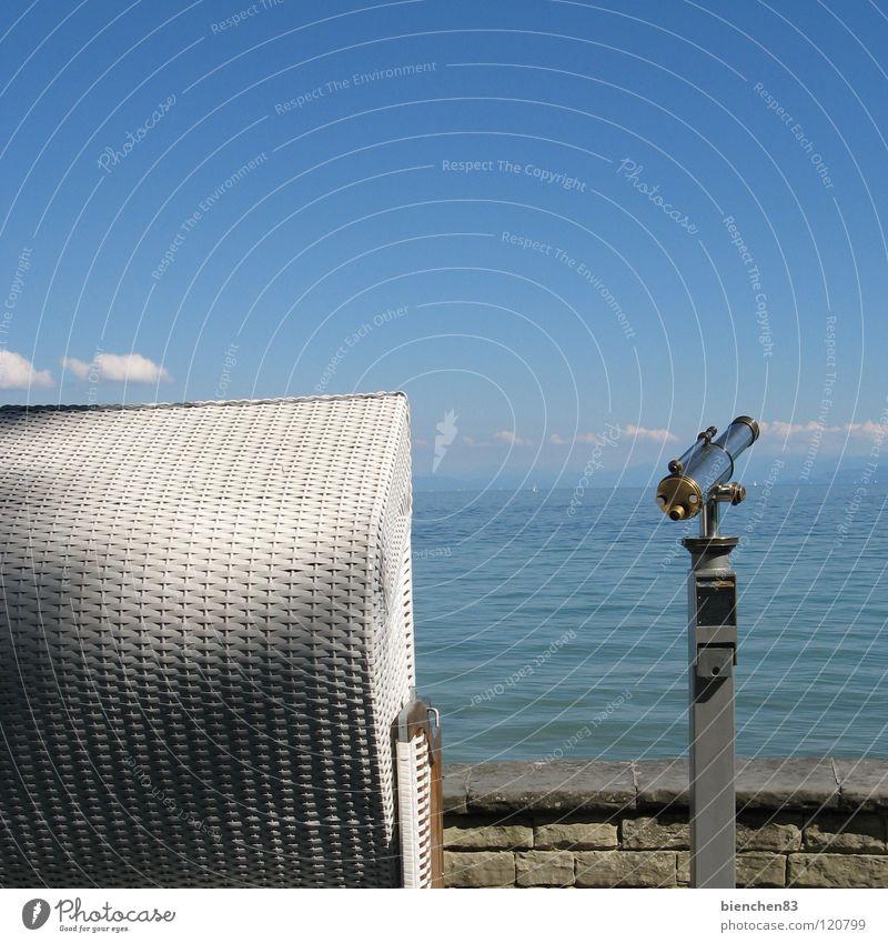 Water Sky Blue Summer Vacation & Travel Lake Island Vantage point Wanderlust Beach chair Binoculars Lake Constance