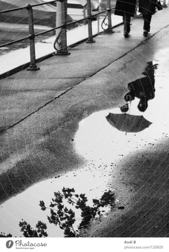 Walking in the rain To go for a walk Puddle Woman Reflection two people Black & white photo Reflections in the water Sadness