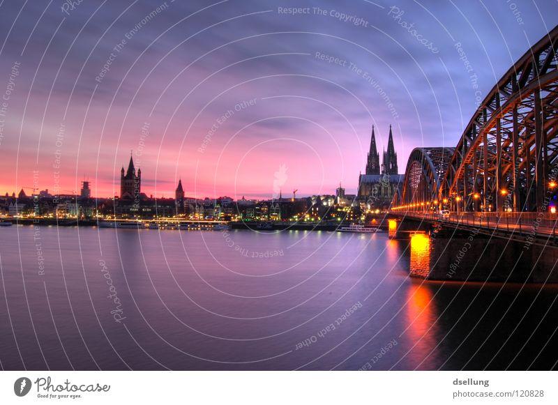 Dusk Cologne Cathedral - railway bridge Sunset Red Blue Yellow Multicoloured Romance Impressive Corona Silhouette Rhine Dome Hohenzollern Bridge Violet Sublime