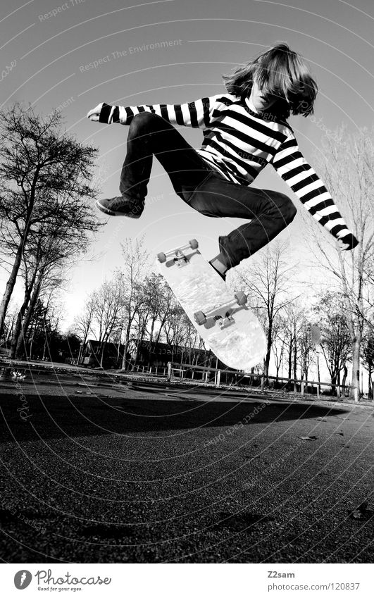 360 flip Dusk Action Skateboarding Contentment Kickflip Salto Jump Striped Tar Concrete Tree Wide angle Youth (Young adults) Sports Funsport Man Movement