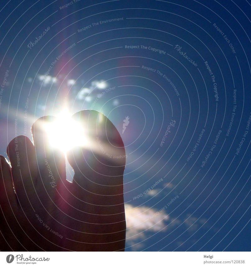 fluoroscopic Toes Joint Nail Left Light Sun Sunlight Back-light Clouds Vacation & Travel Relaxation Uphold Vertical Beach Ocean Summer Sky