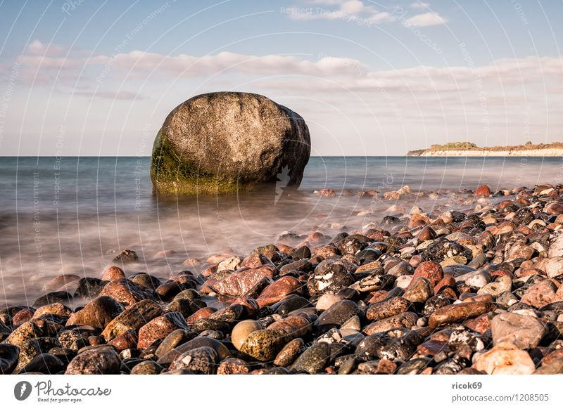 Nature Vacation & Travel Water Relaxation Ocean Landscape Clouds Beach Coast Stone Rock Idyll Romance Baltic Sea Mecklenburg-Western Pomerania Stone block