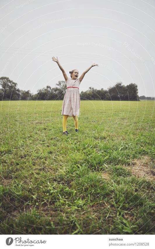 ...no balloon Child Girl Dress Arm Joy Joie de vivre (Vitality) Laughter Hand Exterior shot Playing Meadow Grass Retro young girl Infancy Freedom Parenting