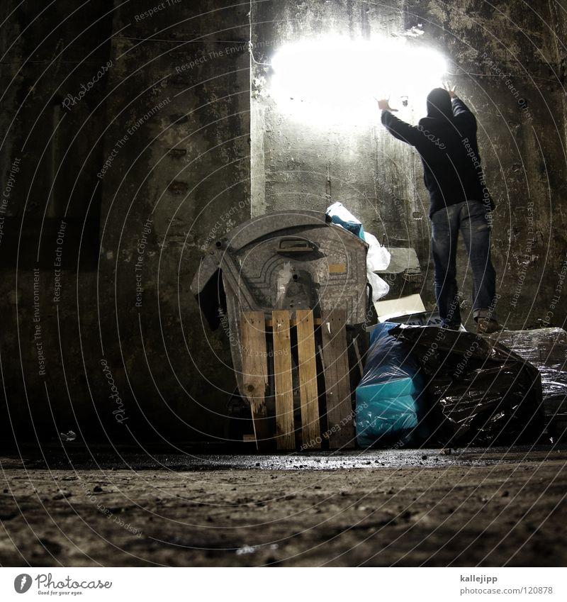 dark stories Trash Keg Dustman Garbage bag Refuse disposal Cleaning Trash container Man Silhouette Thief Criminal Outbreak Escape Tumble down Window