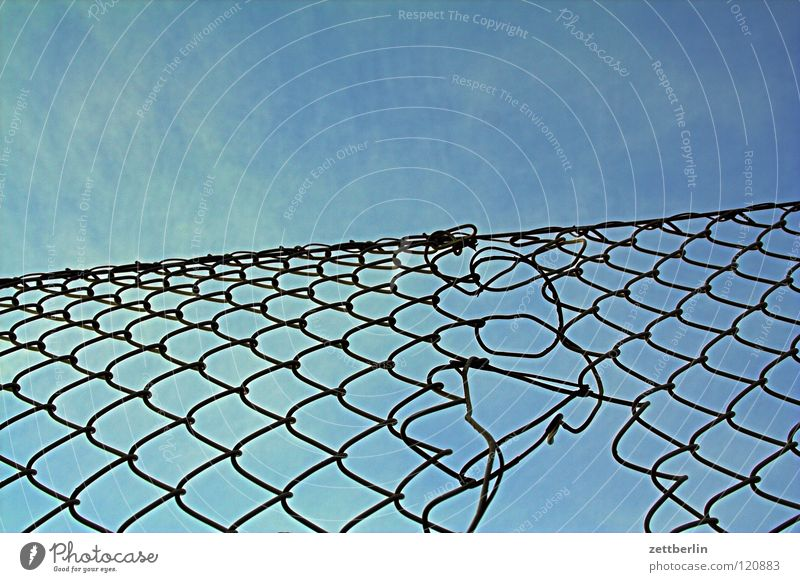 scam Wire netting fence Fence Border Knit Craft (trade) Structures and shapes Matrix Blue sky Sky blue Detail Feeble Dizzy spell Net Computer network Network