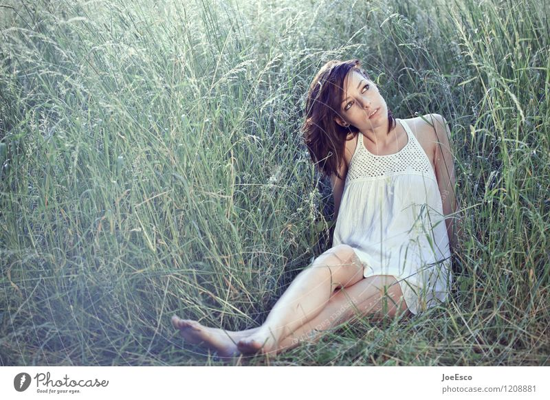 #1208881 Lifestyle Leisure and hobbies Summer Garden Woman Adults Human being Environment Nature Grass Bushes Meadow Field Dress Observe Discover Relaxation